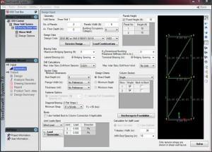 SSS X-Braced Shear Wall Design Screen Software