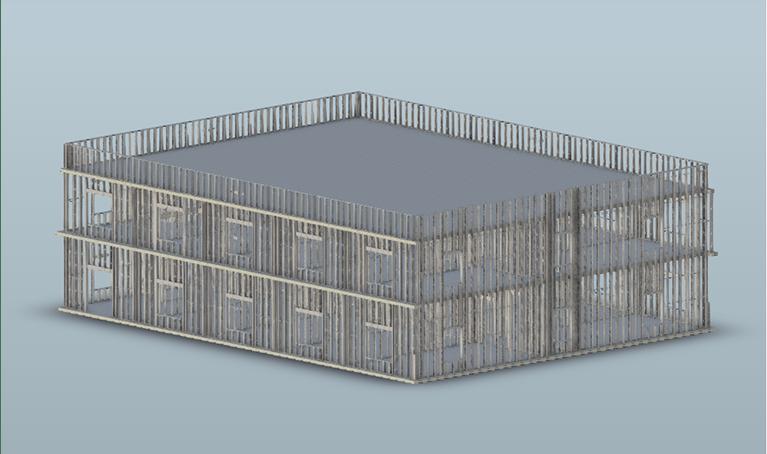 Example 2-story cold-formed steel structure modeled in Revit using ASI's SteelSmart Framer BIM plugin.