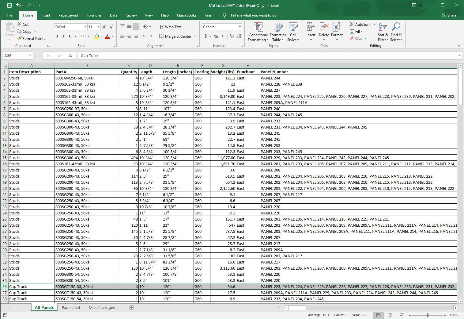 Example cold formed steel material takeoff export into Excel for estimating and orders