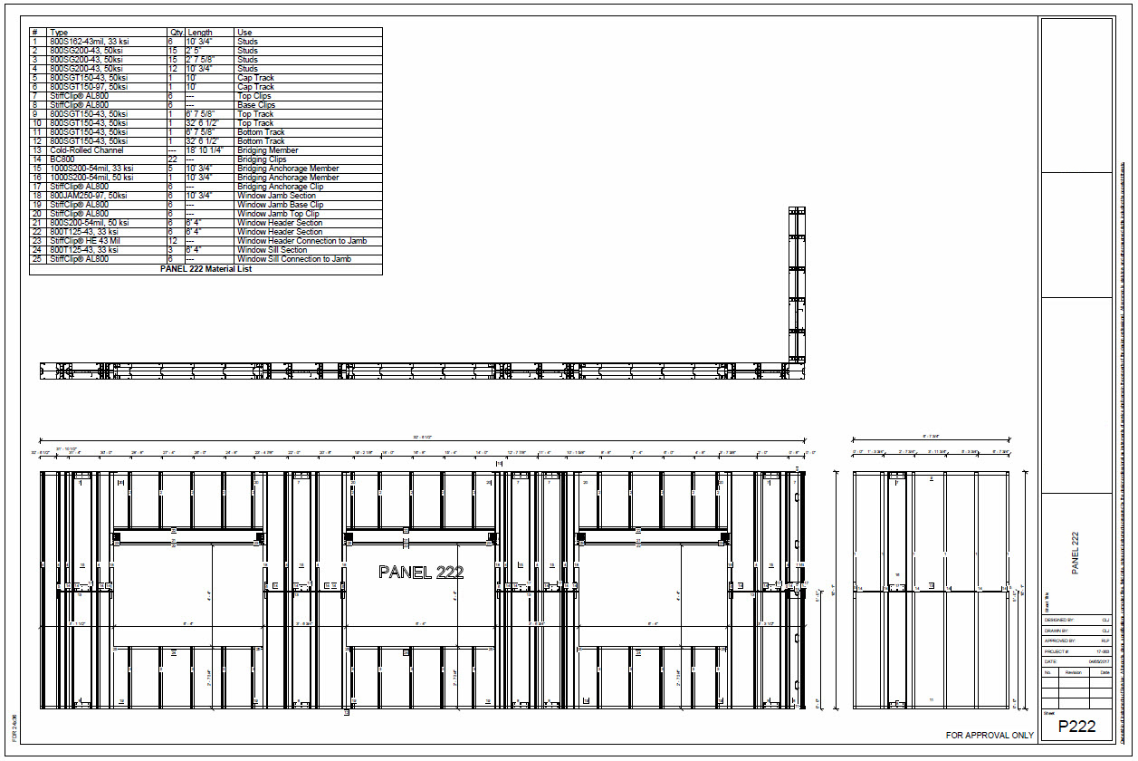 Example cold formed steel panel drawings with material lists export into CAD for shop drawings and panelization